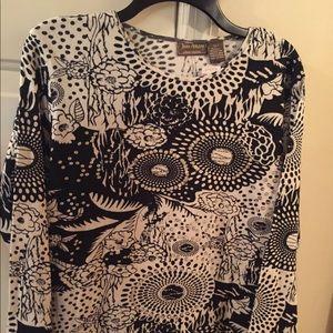 Jane Ashley black/cream print w/sequins blouse